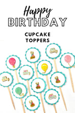 Load image into Gallery viewer, Birthday Cupcake Toppers, Happy Birthday, Birthday Party Decor, Balloon Toppers, Party Hats