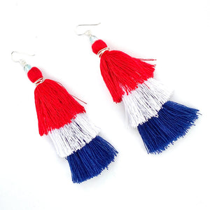 Red White and Blue, 4th of July Earrings, Tassel Earrings, Boho Earrings, Summer Earrings