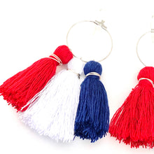 Load image into Gallery viewer, 4th of July Hoop Earrings, 4th of July Swag, Tassel Earrings, Red White and Blue Earrings, Summer Earrings