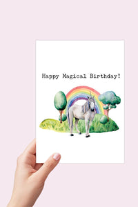 Unicorn Birthday Card, Happy Magical Birthday, Unicorn Card, Birthday Card, Watercolor Card, Printable Card