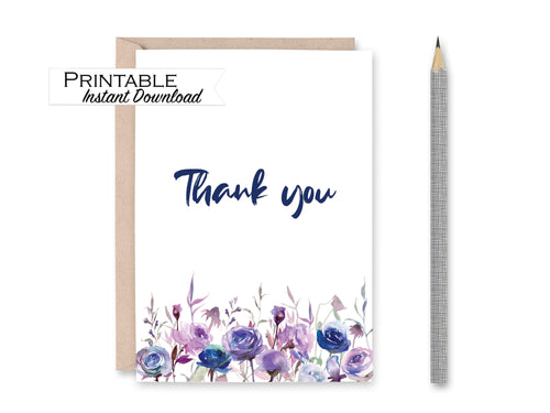 Botanical Thank you Card, Bridesmaid Thank you, Baby Shower Thank you, Purple Floral Card, Simple Thanks, Instant Download Printable Card