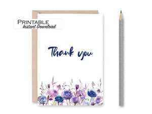 Thank you Card, Purple Floral Card, Printable Card