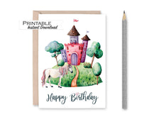 Load image into Gallery viewer, Unicorn Card, Princess Castle Card, Birthday Card, Happy Birthday, Watercolor Card, Printable Card