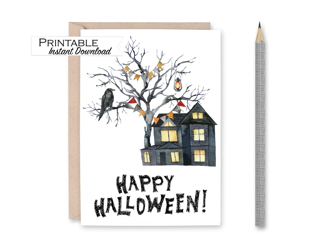 Halloween Card Printable, Happy Halloween, Spooky Card, Haunted House Card