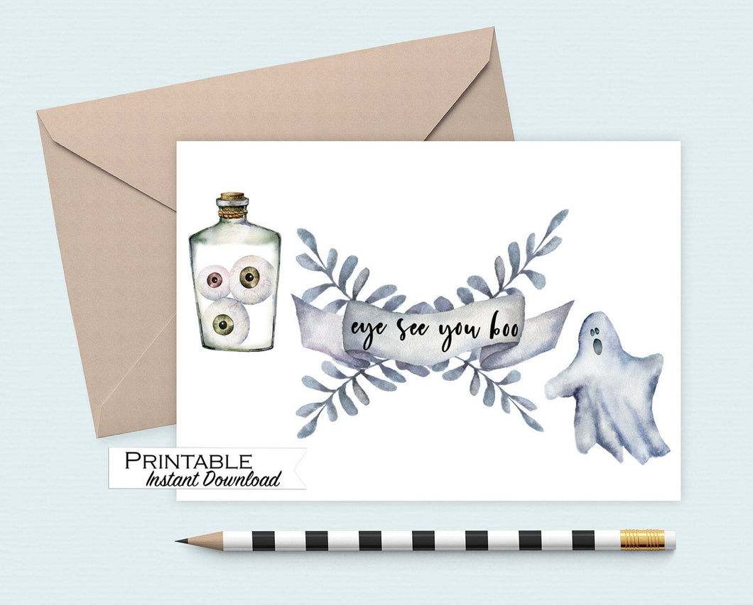 Halloween Card, Eye See you Boo Card, Funny Halloween, Ghost, Printable Card