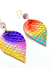 Load image into Gallery viewer, Mermaid Scales Earrings, Mermaid Earrings, Teardrop Earrings, Rainbow Earrings