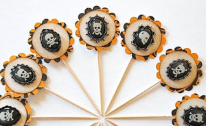 Skull Halloween Cupcake Toppers, Halloween Decor