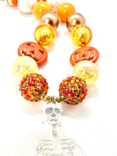 Load image into Gallery viewer, Halloween Bubblegum Necklace, Skeleton Pumpkin, Trick or Treat, Little Girls Necklace