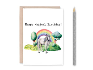 Once upon a Time Personalized Unicorn Birthday Card, Happy Magical Birthday, Unicorn Card, Birthday Card, Watercolor Card, Printable Card
