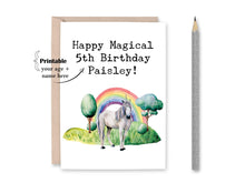 Load image into Gallery viewer, Personalized Unicorn Birthday Card, Happy Magical Birthday, Unicorn Card, Birthday Card, Watercolor Card, Printable Card
