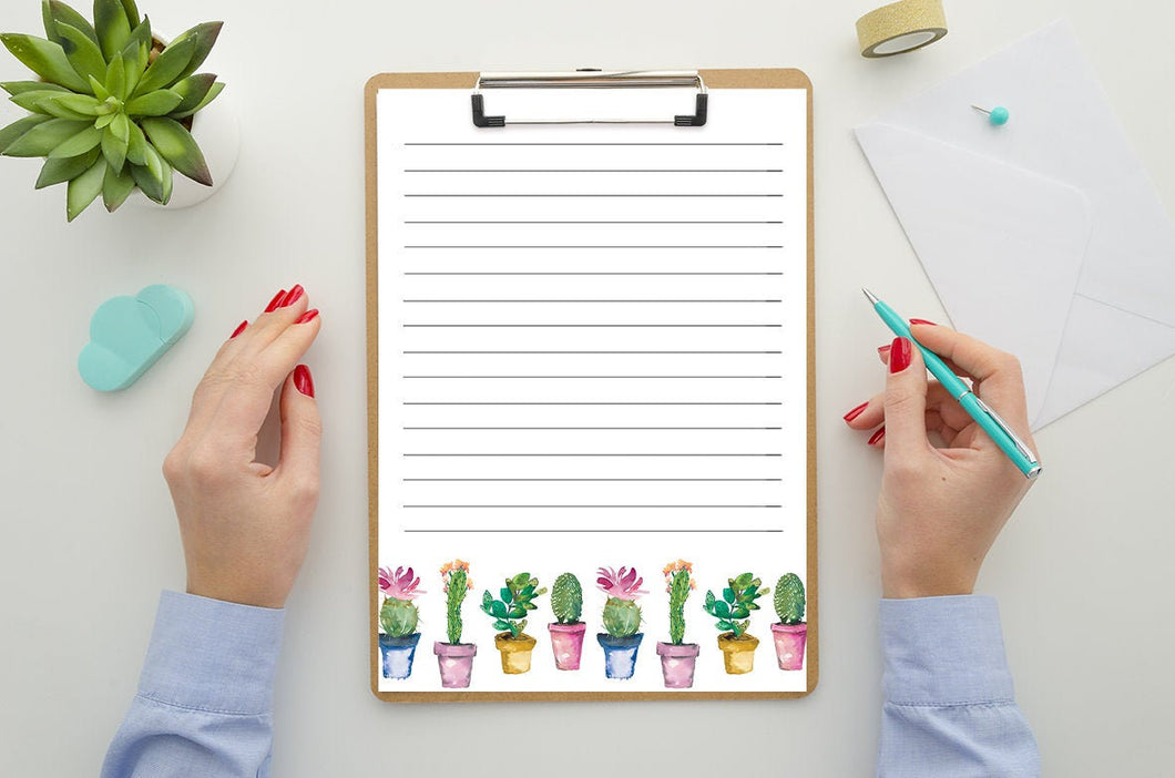 Printable Lined Stationary - Watercolor Party Cactus Design