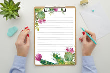 Load image into Gallery viewer, Lined Stationary, Watercolor Cactus Stationary, Printable Stationary, Floral Print, Orange and Green, Floral Stationary
