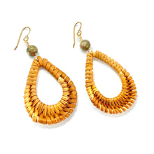 Load image into Gallery viewer, Wicker Earrings, Unakite Earrings, Rattan, Boho Earrings