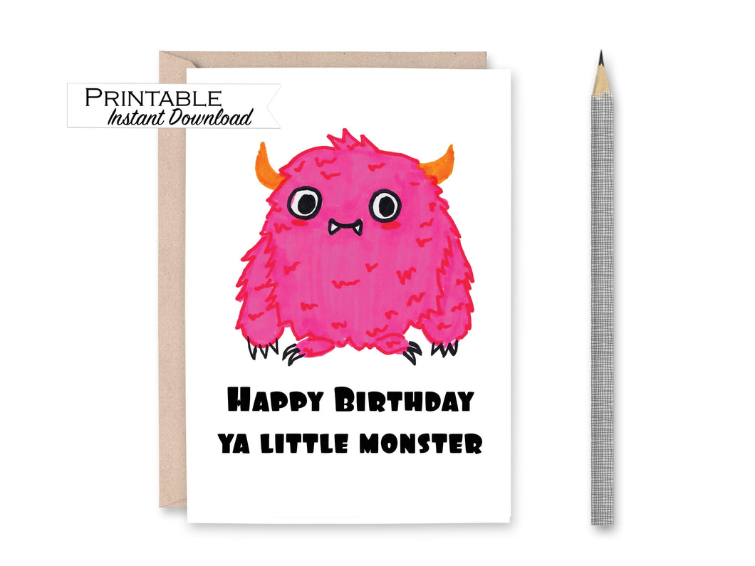 Monster Birthday, Kids Birthday Card, Printable Card
