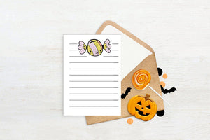 Halloween Note Cards, Pastel Halloween, Printable Stationary for Kids