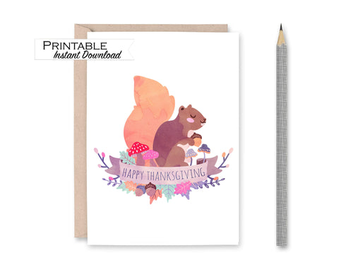 Thanksgiving Card, Squirrel Watercolor, Happy Thanksgiving Card Printable
