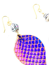 Load image into Gallery viewer, Purple Mermaid Earrings, Leather Earrings, Teardrop Earrings