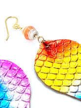 Load image into Gallery viewer, Rainbow Earrings, Mermaid Earrings, Leather Earrings, Teardrop Earrings