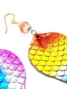 Rainbow Earrings, Mermaid Earrings, Leather Earrings, Teardrop Earrings