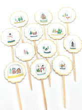 Load image into Gallery viewer, Snow Globe Cupcake Toppers, Whimsical Christmas Picks