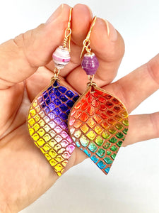 Mermaid Scales Earrings, Mermaid Earrings, Teardrop Earrings, Rainbow Earrings