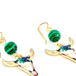 Bull Skull Malachite Earrings, Western Earrings, Boho Earrings, Gemstone Jewelry