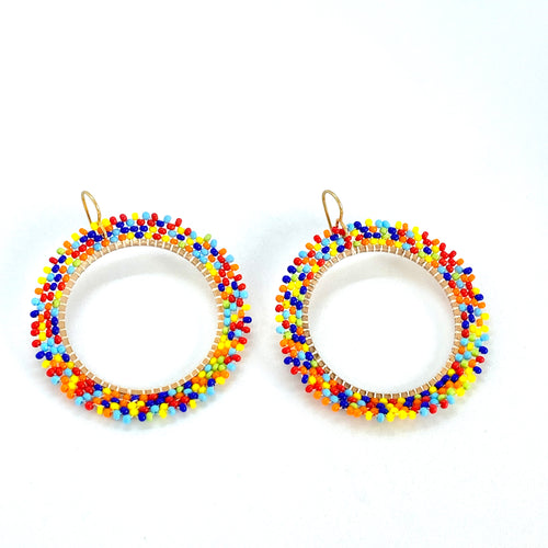 Colorful Hoops, Beaded Earrings, Boho Earrings, Hoop Earrings