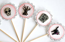 Load image into Gallery viewer, Spooky Halloween Cupcake Toppers, Graveyard Halloween Decor