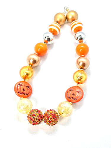 Jack O Lantern Halloween Bubblegum Necklace, Little Girl Necklace