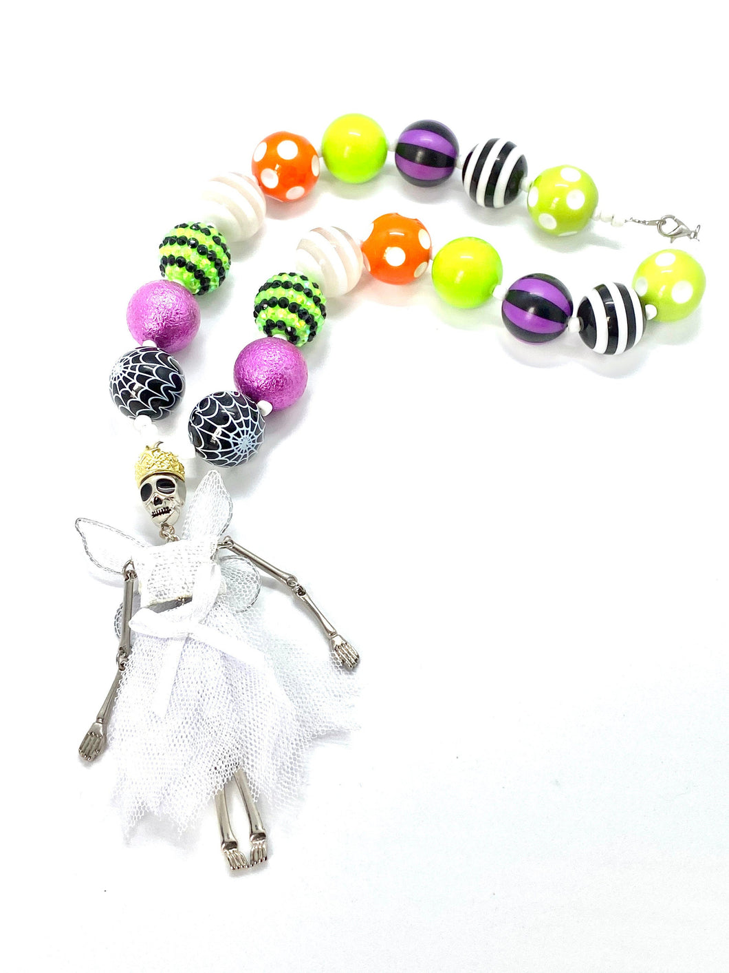 Skeleton Halloween Bubblegum Necklace, Little Girl Necklace