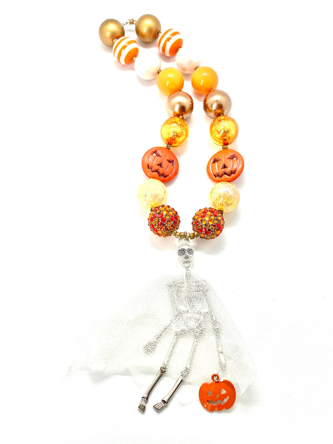 Halloween Bubblegum Necklace, Skeleton Pumpkin, Trick or Treat, Little Girls Necklace