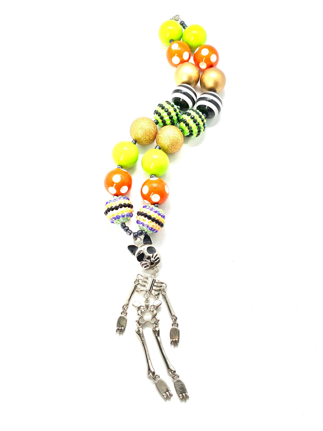 Skeleton Cat Halloween Bubblegum Necklace, Day of the Dead Cat, Little Girls Necklace