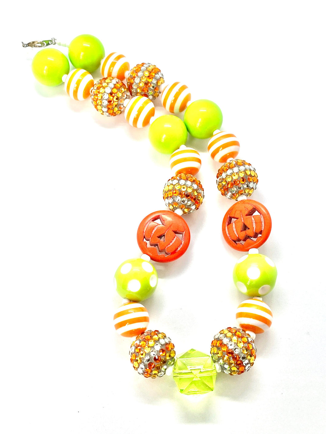 Pumpkin Halloween Bubblegum Necklace; Green and Orange Design, Little Girl Necklace