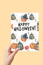 Load image into Gallery viewer, Happy Halloween Card, Jack O Lanterns, Halloween Card Printable