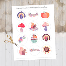 Load image into Gallery viewer, Thanksgiving Cupcake Toppers, Thanksgiving Tags, Thanksgiving Decor, Thanksgiving Printables