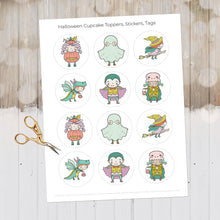 Load image into Gallery viewer, Pastel Halloween, Halloween Decor, Halloween Cupcake Toppers, Printable Cupcake Toppers