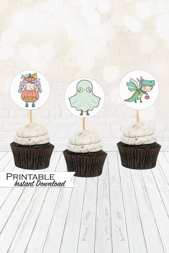 Pastel Halloween, Halloween Decor, Halloween Cupcake Toppers, Printable Cupcake Toppers
