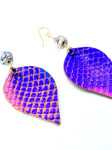 Purple Mermaid Earrings, Leather Earrings, Teardrop Earrings