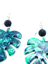 Load image into Gallery viewer, Leaf Earrings, Monstera Earrings, Diffuser Jewelry, Lava Stone