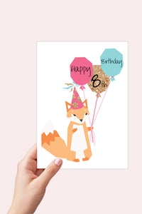 Personalized Birthday Card, Fox Birthday Card, Printable Card