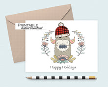Load image into Gallery viewer, Yeti, Sasquatch, Bigfoot, Happy Holidays Card, Christmas Card, Printable Card