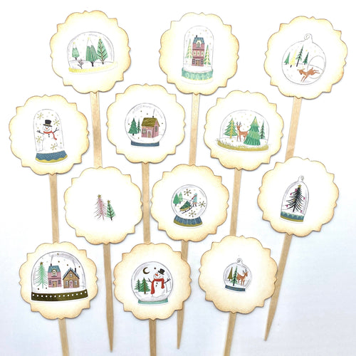 Snow Globe Cupcake Toppers, Whimsical Christmas Picks