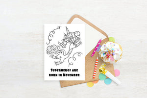 November Birthday, Superhero Birthday Card, Unicorn Birthday, Coloring Pages, Printable Card