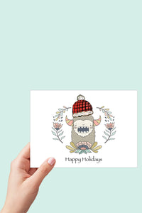 Yeti, Sasquatch, Bigfoot, Happy Holidays Card, Christmas Card, Printable Card