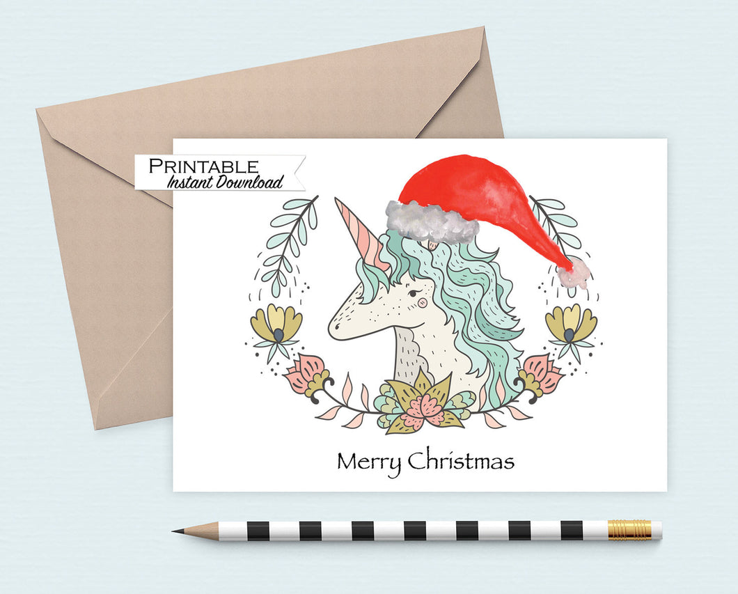 Unicorn Christmas Card, Merry Christmas, Magical Creatures, Printable Card