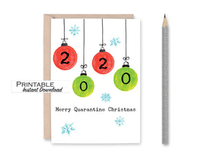 Funny Christmas Card, Quarantine Ornament Card, Merry Quarantine Christmas, Printable Card