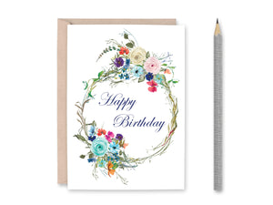 Floral Card Set, Happy Birthday Card, Thinking of you, Sympathy Card, Thank You Card, Printable Cards
