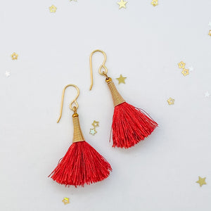 Red Earrings, Fiesta Earrings, Thread Earrings, Boho Earrings