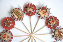 Load image into Gallery viewer, Yuletide Cupcake Toppers. Glittery Christmas Cupcake Toppers. Christmas Party Decor.