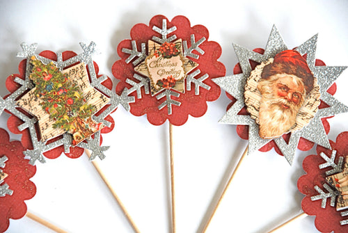 Yuletide Cupcake Toppers. Glittery Christmas Cupcake Toppers. Christmas Party Decor.